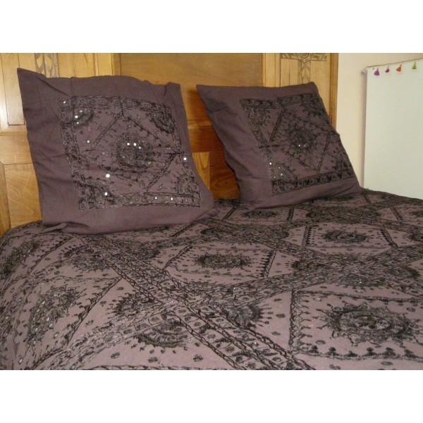 Couvre lit en coton Nuit étoilée brodé à la main avec des miroirs